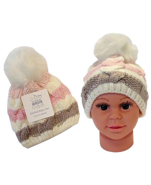 Knitted Baby Striped Pom Pom Hat Pink Grey -baby knitted hat with pom pom,knit baby hat with lining