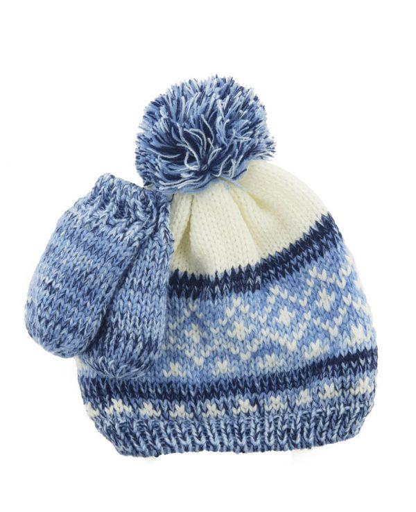 Newborn Knitted Baby Hat and Mitten Set Blue- newborn baby hat and mitten set 3
