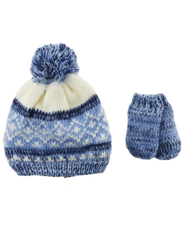 Newborn Knitted Baby Hat and Mitten Set Blue- newborn baby hat and mitten set