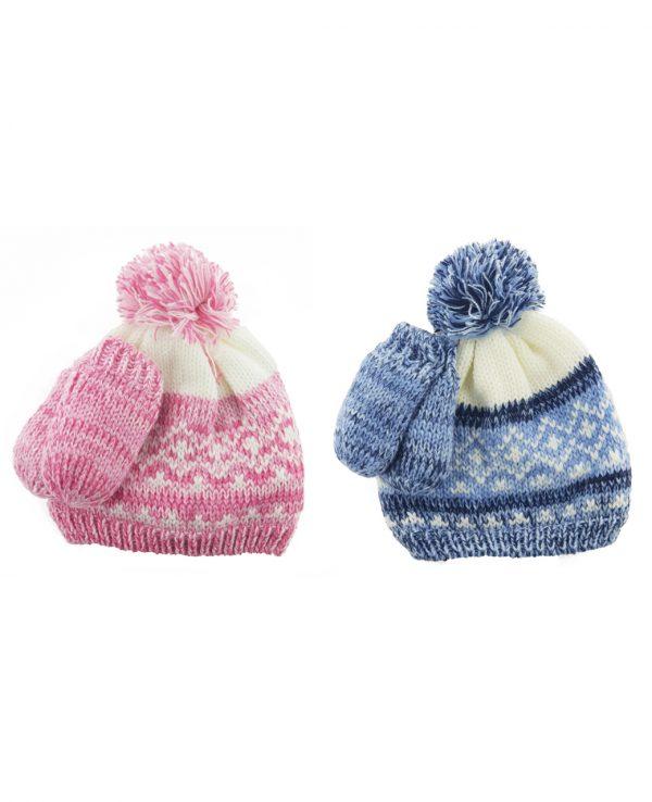 Newborn Knitted Baby Hat and Mitten Set Pink Blue- newborn baby hat and mitten set