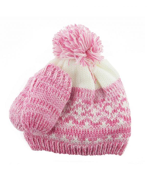 Newborn Knitted Baby Hat and Mitten Set Pink- newborn baby hat and mitten set 4