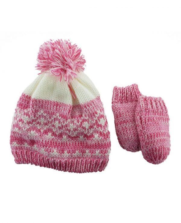Newborn Knitted Baby Hat and Mitten Set Pink- newborn baby hat and mitten set