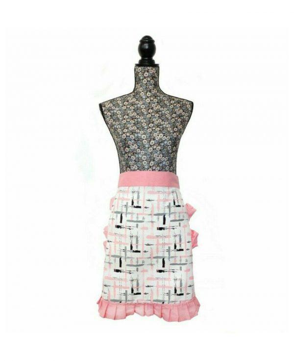 Pink Vintage Frilly Waist Apron-1950s housewife apron, pretty vintage apron