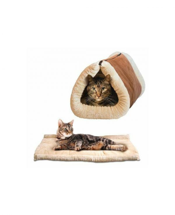 Cosy 2 In 1 Warm Igloo Pet Bed For Cat Kitten Dog Puppy Plush Cave Mat Snug portable pets