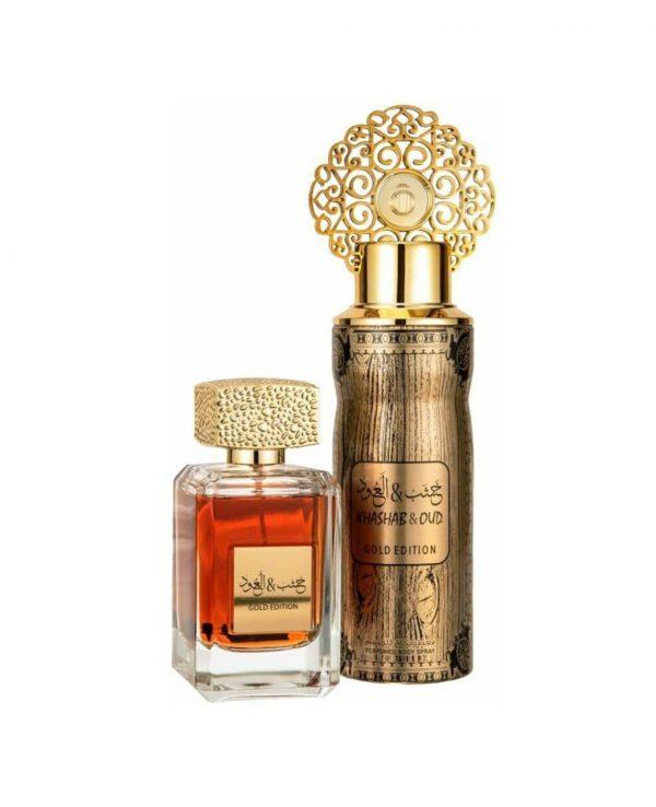 Khashab & Oud Gold Edition Arabian Perfume Spray Deodorant gift Set My perfumes Arabic fragrance 60ml women men unisex Oud fresh Amber Flowers Rich scent